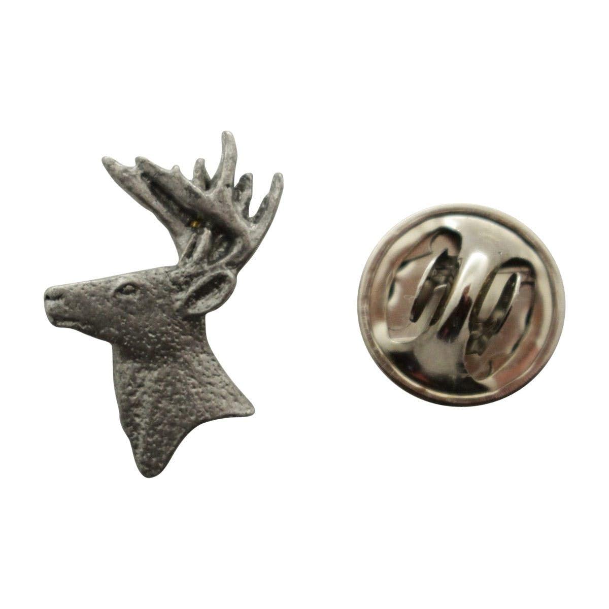 Wonderful Buck Head Mini Pin ~ Antiqued Pewter ~ Miniature Lapel Pin ~ Antiqued  Pewter Miniature Lapel