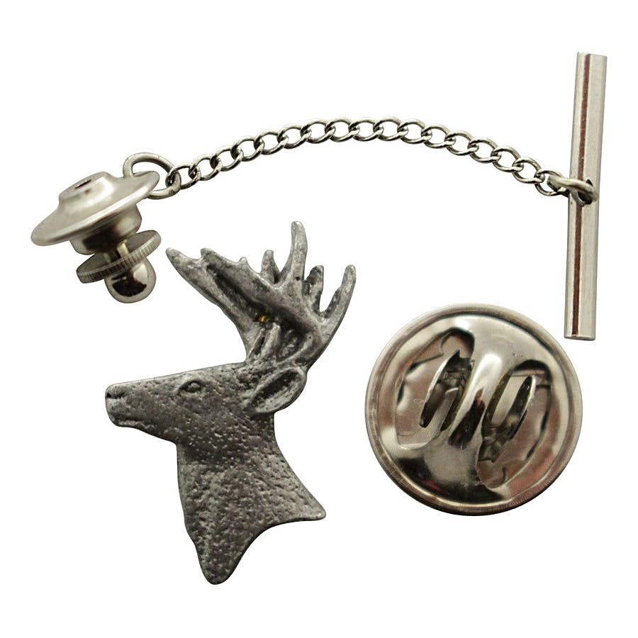 Buck head Tie Tack ~ Antiqued Pewter ~ Tie Tack or Pin ~ Antiqued Pewter Tie Tack or Pin ~ Sarah's Treats & Treasures