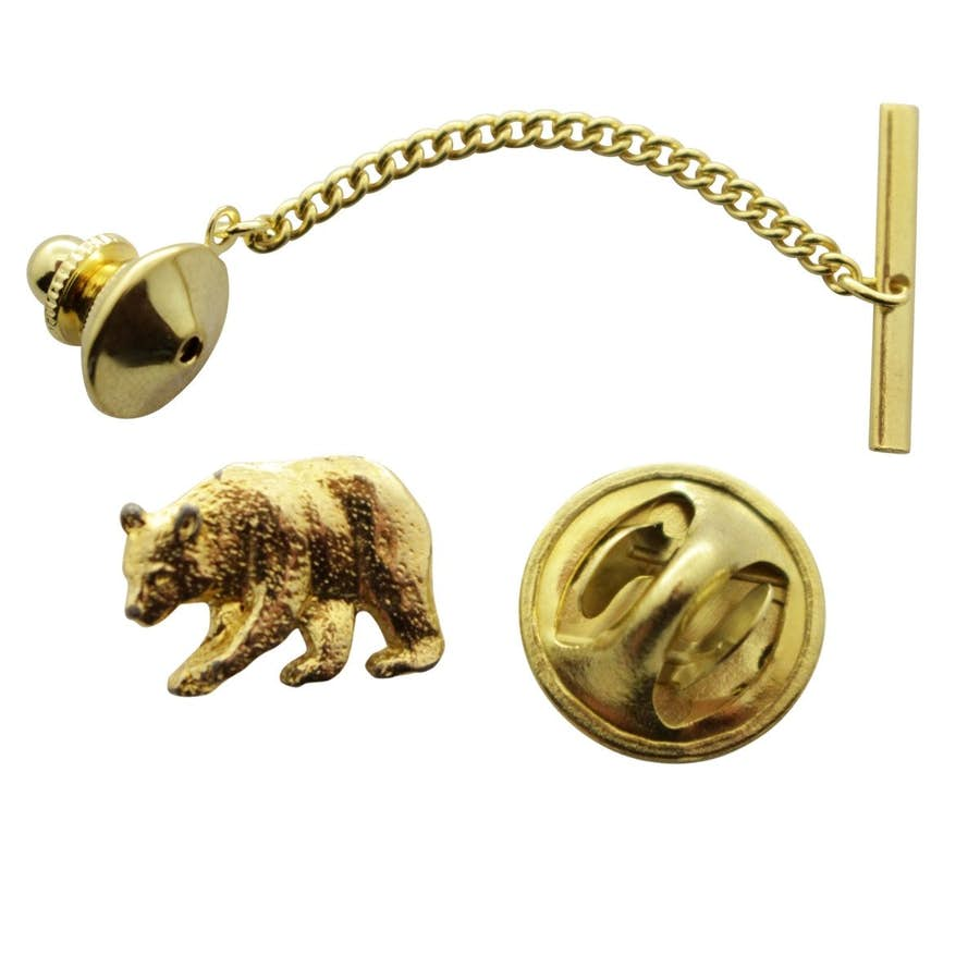 Bear Tie Tack ~ 24K Gold ~ Tie Tack or Pin ~ Sarah's Treats & Treasures