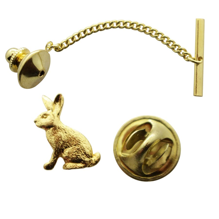 Rabbit Tie Tack ~ 24K Gold ~ Tie Tack or Pin ~ Sarah's Treats & Treasures
