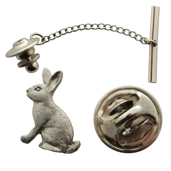 Rabbit Tie Tack ~ Antiqued Pewter ~ Tie Tack or Pin ~ Sarah's Treats & Treasures
