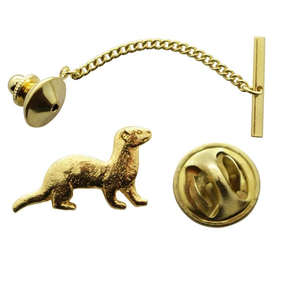 Ferret Tie Tack ~ 24K Gold ~ Tie Tack or Pin ~ Sarah's Treats & Treasures