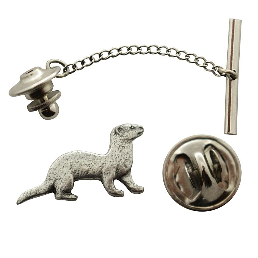 Ferret Tie Tack ~ Antiqued Pewter ~ Tie Tack or Pin ~ Sarah's Treats & Treasures