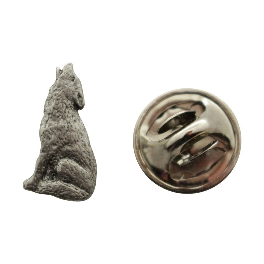 Howling Wolf Mini Pin ~ Antiqued Pewter ~ Miniature Lapel Pin ~ Sarah's Treats & Treasures