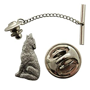 Howling Wolf Tie Tack ~ Antiqued Pewter ~ Tie Tack or Pin ~ Antiqued Pewter Tie Tack or Pin ~ Sarah's Treats & Treasures