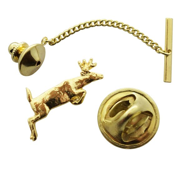 Leaping Deer Tie Tack ~ 24K Gold ~ Tie Tack or Pin ~ 24K Gold Tie Tack or Pin ~ Sarah's Treats & Treasures