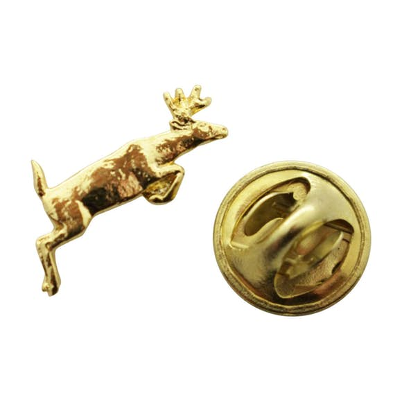 Leaping Deer Mini Pin ~ 24K Gold ~ Miniature Lapel Pin ~ 24K Gold Miniature Lapel Pin ~ Sarah's Treats & Treasures