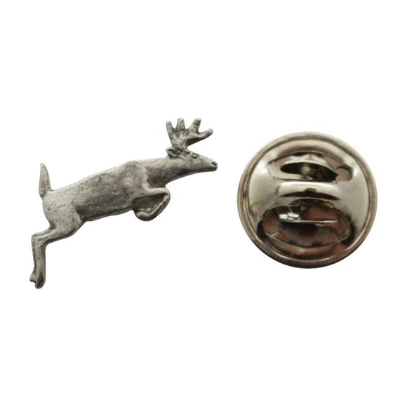 Leaping Deer Mini Pin ~ Antiqued Pewter ~ Miniature Lapel Pin ~ Sarah's Treats & Treasures