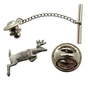 Leaping Deer Tie Tack ~ Antiqued Pewter ~ Tie Tack or Pin ~ Sarah's Treats & Treasures