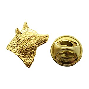 Wolf Head Facing Right Mini Pin ~ 24K Gold ~ Miniature Lapel Pin ~ Sarah's Treats & Treasures