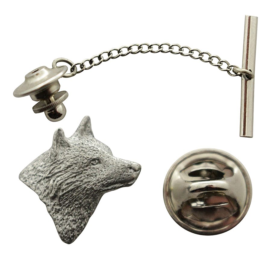 Wolf Head Facing Right Tie Tack ~ Antiqued Pewter ~ Tie Tack or Pin ~ Antiqued Pewter Tie Tack or Pin ~ Sarah's Treats & Treasures