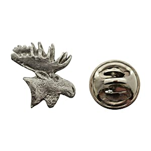 Moose Head Mini Pin ~ Antiqued Pewter ~ Miniature Lapel Pin ~ Sarah's Treats & Treasures