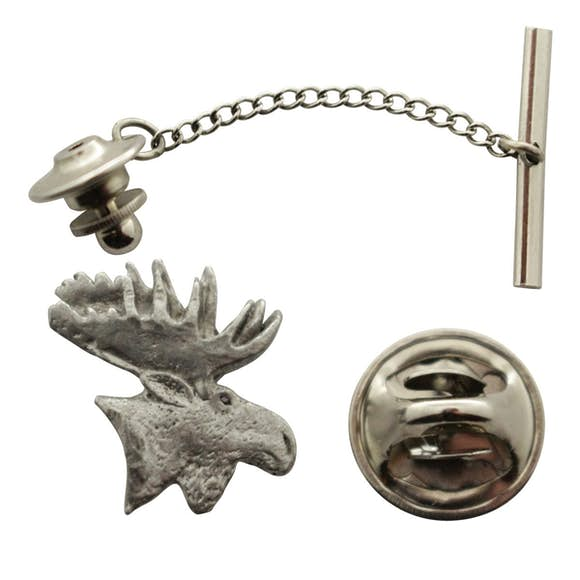 Moose Head Tie Tack ~ Antiqued Pewter ~ Tie Tack or Pin ~ Antiqued Pewter Tie Tack or Pin ~ Sarah's Treats & Treasures