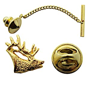 Elk Tie Tack ~ 24K Gold ~ Tie Tack or Pin ~ 24K Gold Tie Tack or Pin ~ Sarah's Treats & Treasures