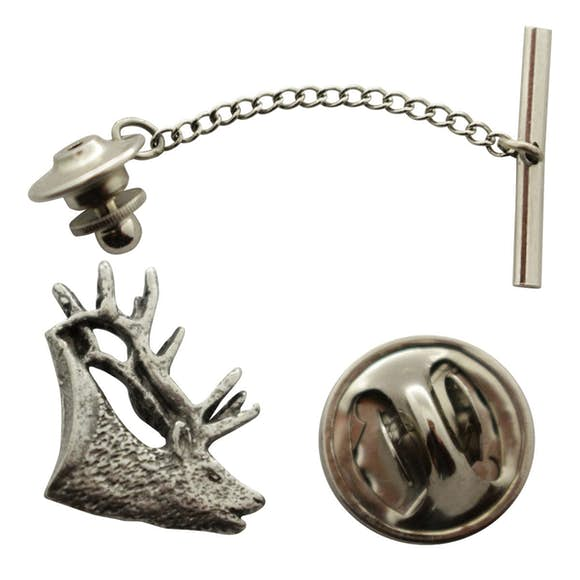 Elk Tie Tack ~ Antiqued Pewter ~ Tie Tack or Pin ~ Antiqued Pewter Tie Tack or Pin ~ Sarah's Treats & Treasures