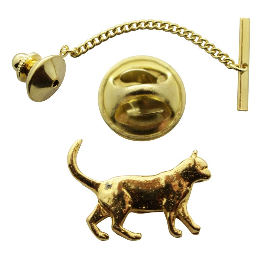 Walking Cat Tie Tack ~ 24K Gold ~ Tie Tack or Pin ~ 24K Gold Tie Tack or Pin ~ Sarah's Treats & Treasures