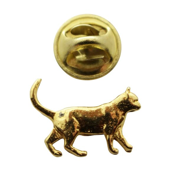 Walking Cat Mini Pin ~ 24K Gold ~ Miniature Lapel Pin ~ 24K Gold Miniature Lapel Pin ~ Sarah's Treats & Treasures