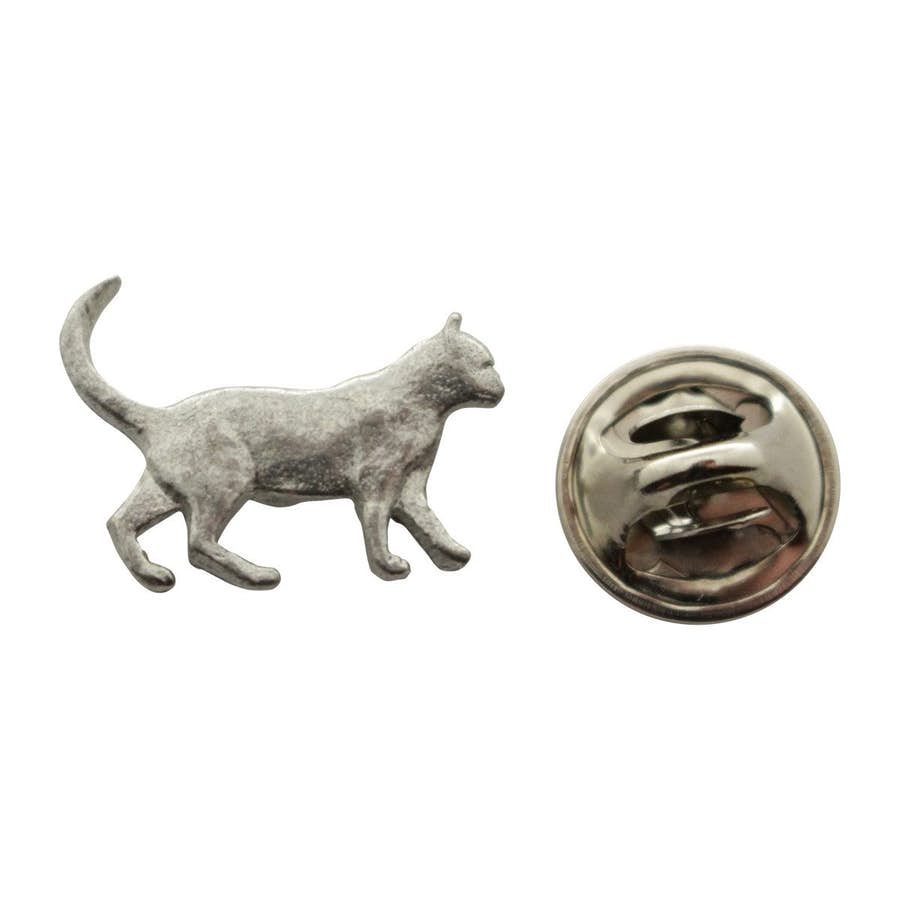 Walking Cat Mini Pin ~ Antiqued Pewter ~ Miniature Lapel Pin ~ Sarah's Treats & Treasures
