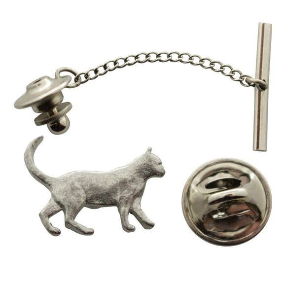 Walking Cat Tie Tack ~ Antiqued Pewter ~ Tie Tack or Pin ~ Sarah's Treats & Treasures