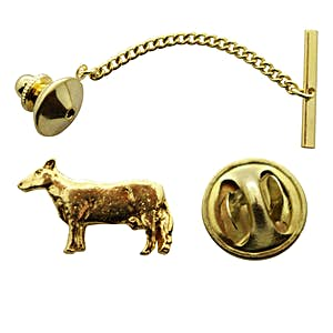 Cow Tie Tack ~ 24K Gold ~ Tie Tack or Pin ~ Sarah's Treats & Treasures