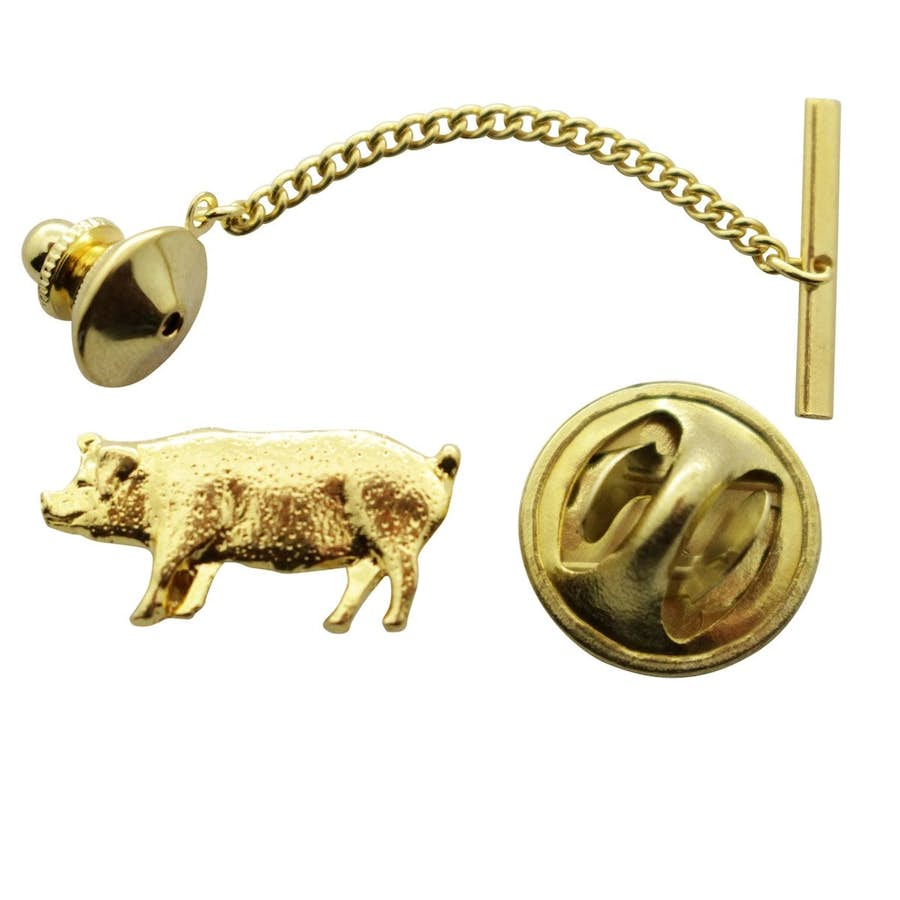Pig Tie Tack ~ 24K Gold ~ Tie Tack or Pin ~ 24K Gold Tie Tack or Pin ~ Sarah's Treats & Treasures