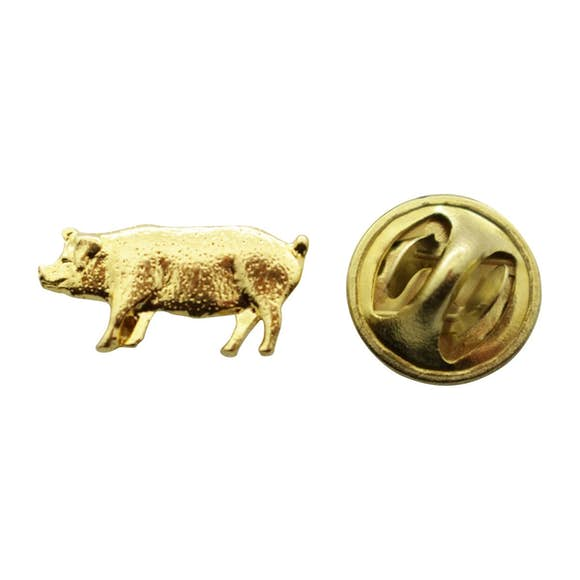 Pig Mini Pin ~ 24K Gold ~ Miniature Lapel Pin ~ 24K Gold Miniature Lapel Pin ~ Sarah's Treats & Treasures