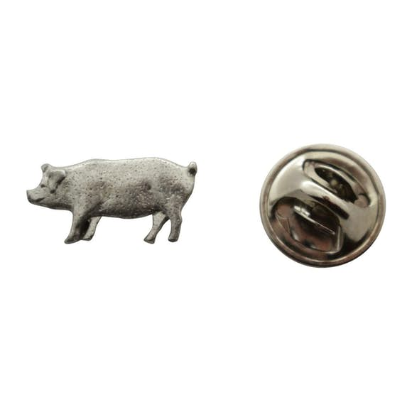 Pig Mini Pin ~ Antiqued Pewter ~ Miniature Lapel Pin ~ Sarah's Treats & Treasures