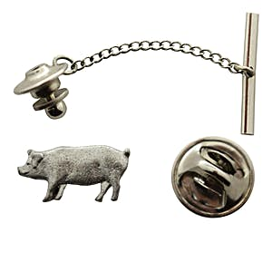 Pig Tie Tack ~ Antiqued Pewter ~ Tie Tack or Pin ~ Antiqued Pewter Tie Tack or Pin ~ Sarah's Treats & Treasures