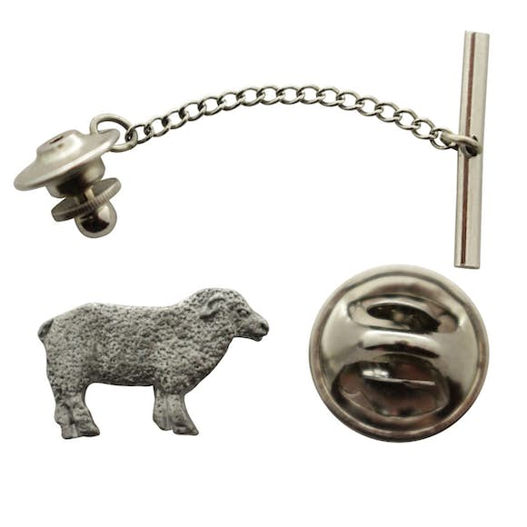 Sheep Tie Tack ~ Antiqued Pewter ~ Tie Tack or Pin ~ Sarah's Treats & Treasures