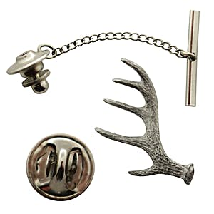 Antler Shed Tie Tack ~ Antiqued Pewter ~ Tie Tack or Pin ~ Sarah's Treats & Treasures