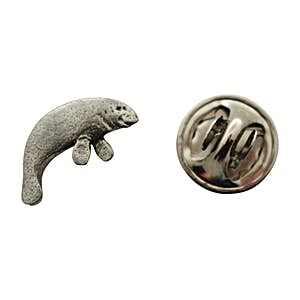 Manatee Mini Pin ~ Antiqued Pewter ~ Miniature Lapel Pin ~ Sarah's Treats & Treasures