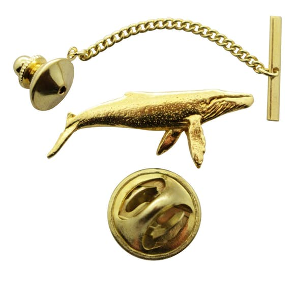 Humpback Whale Tie Tack ~ 24K Gold ~ Tie Tack or Pin ~ 24K Gold Tie Tack or Pin ~ Sarah's Treats & Treasures
