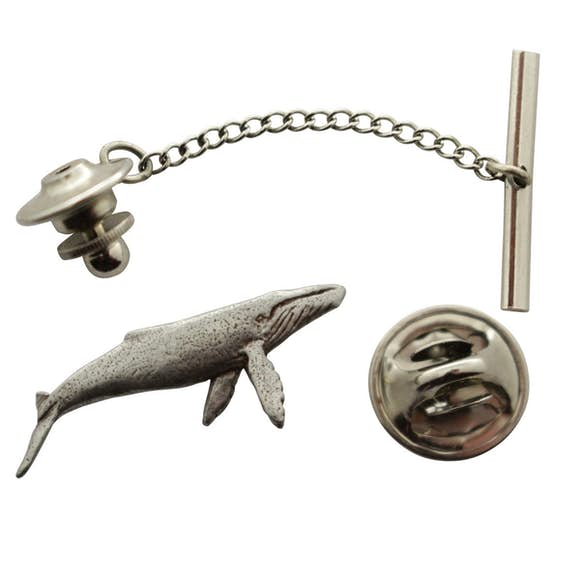 Humpback Whale Tie Tack ~ Antiqued Pewter ~ Tie Tack or Pin ~ Sarah's Treats & Treasures