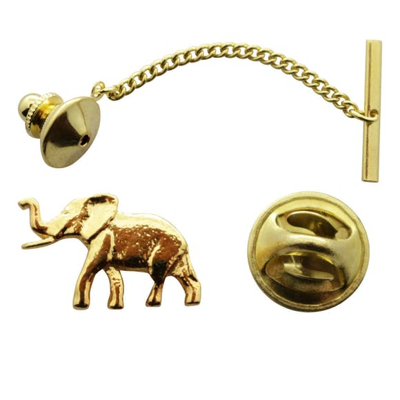 Elephant Tie Tack ~ 24K Gold ~ Tie Tack or Pin ~ Sarah's Treats & Treasures