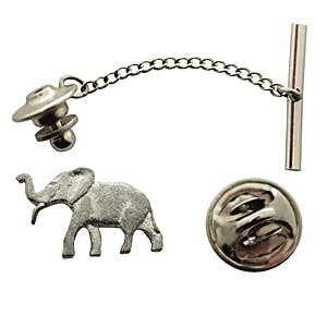 Elephant Tie Tack ~ Antiqued Pewter ~ Tie Tack or Pin ~ Sarah's Treats & Treasures