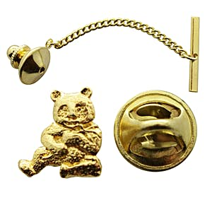 Panda Tie Tack ~ 24K Gold ~ Tie Tack or Pin ~ 24K Gold Tie Tack or Pin ~ Sarah's Treats & Treasures