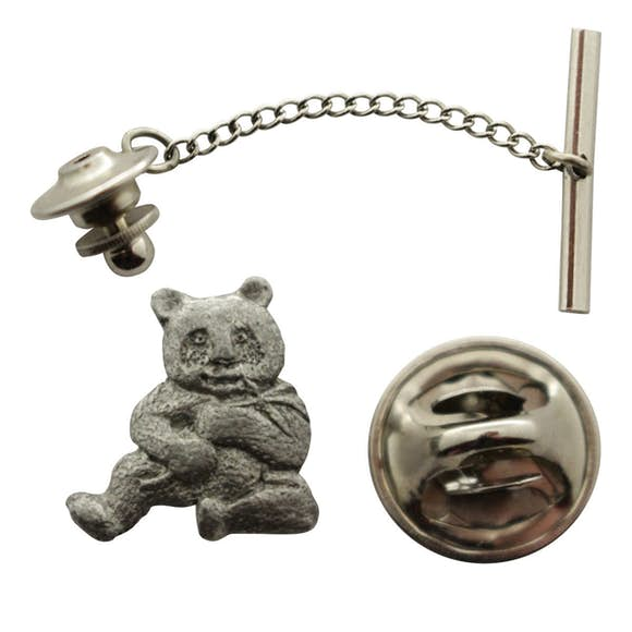 Panda Tie Tack ~ Antiqued Pewter ~ Tie Tack or Pin ~ Antiqued Pewter Tie Tack or Pin ~ Sarah's Treats & Treasures