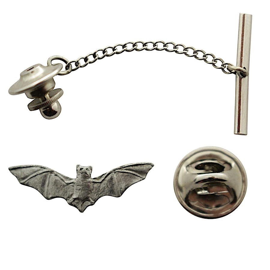 Bat Tie Tack ~ Antiqued Pewter ~ Tie Tack or Pin ~ Sarah's Treats & Treasures