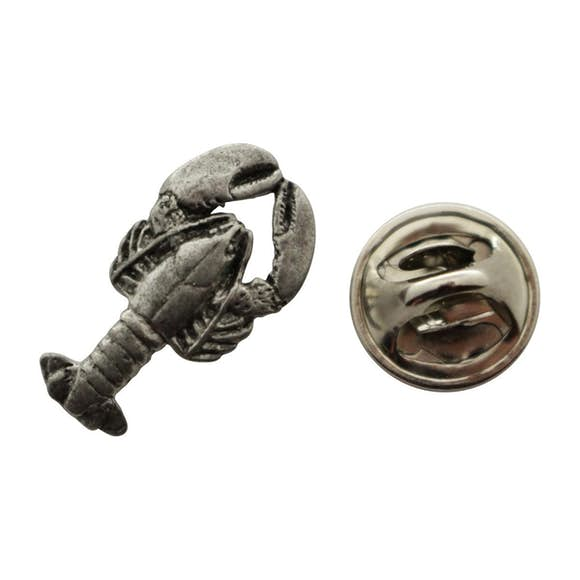 Lobster Mini Pin ~ Antiqued Pewter ~ Miniature Lapel Pin ~ Sarah's Treats & Treasures