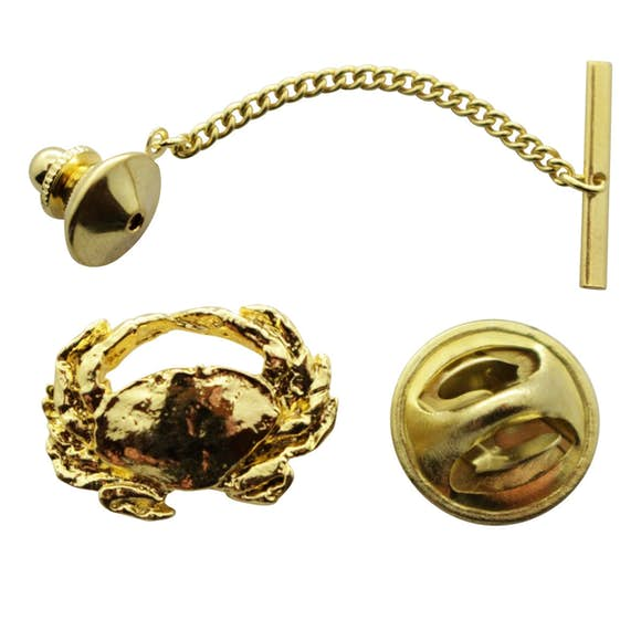 Dungeness Crab Tie Tack ~ 24K Gold ~ Tie Tack or Pin ~ 24K Gold Tie Tack or Pin ~ Sarah's Treats & Treasures