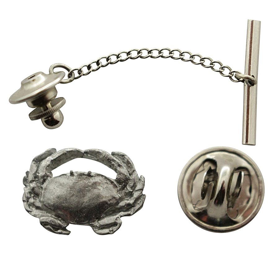 Dungeness Crab Tie Tack ~ Antiqued Pewter ~ Tie Tack or Pin ~ Sarah's Treats & Treasures