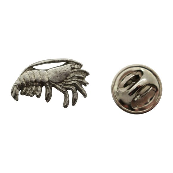 Shrimp Mini Pin ~ Antiqued Pewter ~ Miniature Lapel Pin ~ Sarah's Treats & Treasures