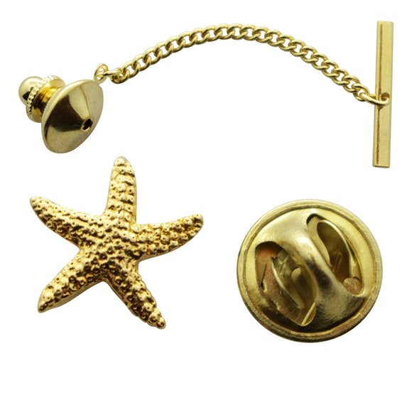 Starfish Tie Tack ~ 24K Gold ~ Tie Tack or Pin ~ Sarah's Treats & Treasures