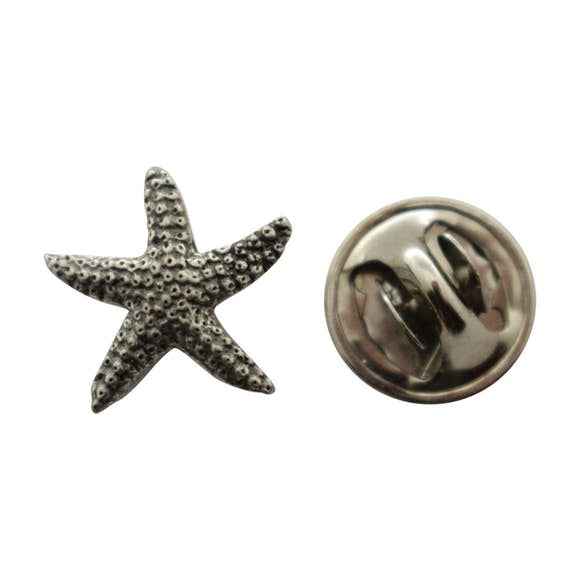 Starfish Mini Pin ~ Antiqued Pewter ~ Miniature Lapel Pin ~ Sarah's Treats & Treasures