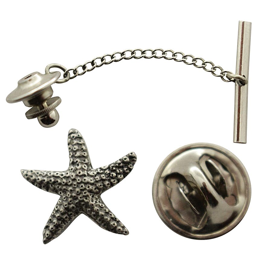 Starfish Tie Tack ~ Antiqued Pewter ~ Tie Tack or Pin ~ Sarah's Treats & Treasures
