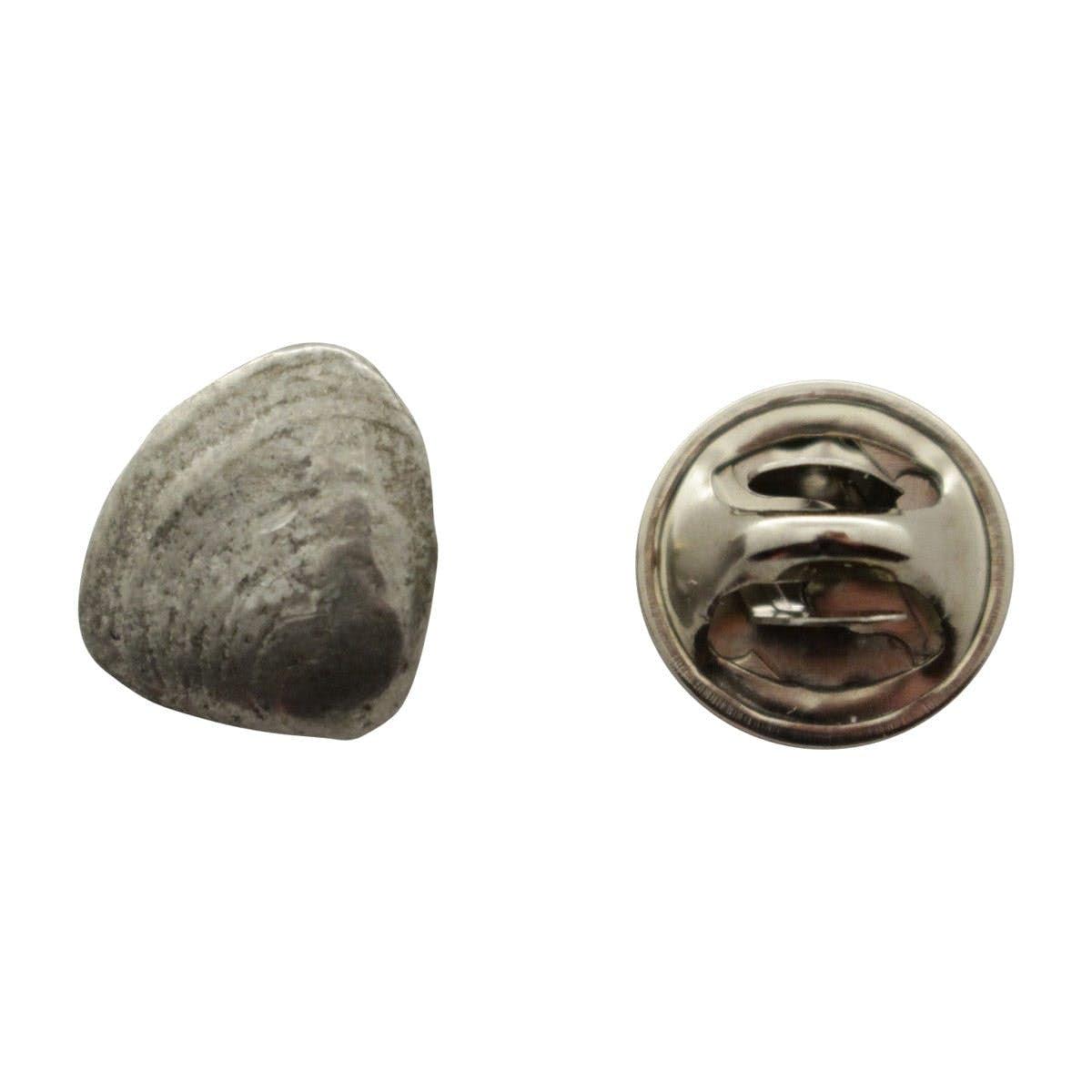 Delightful Clam Mini Pin ~ Antiqued Pewter ~ Miniature Lapel Pin ~ Antiqued Pewter  Miniature Lapel Pin