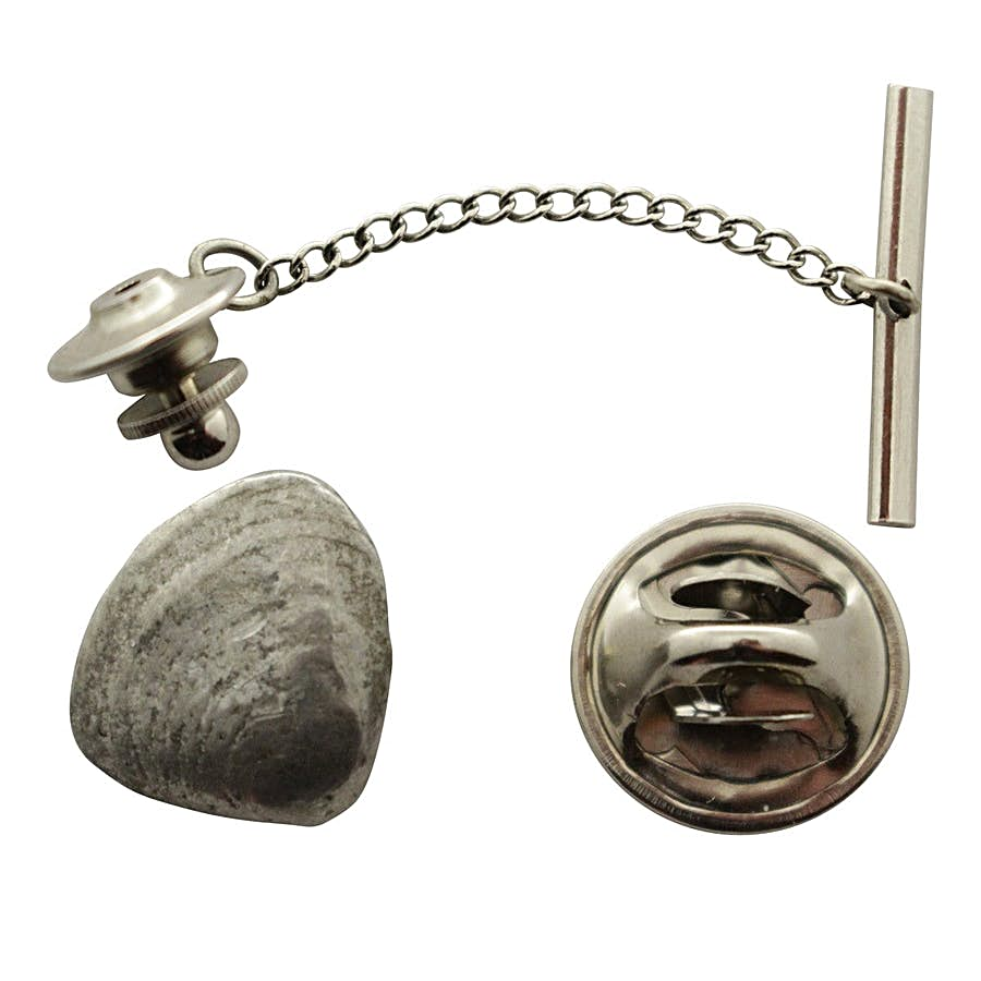 Clam Tie Tack ~ Antiqued Pewter ~ Tie Tack or Pin ~ Antiqued Pewter Tie Tack or Pin ~ Sarah's Treats & Treasures
