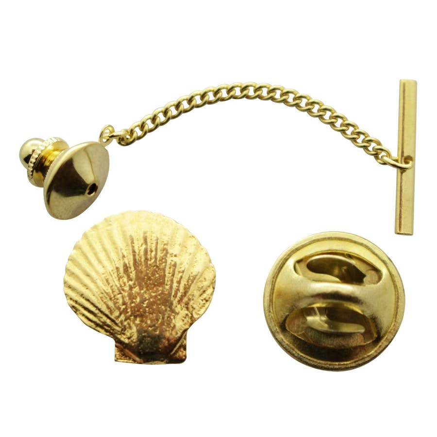 Scallop Tie Tack ~ 24K Gold ~ Tie Tack or Pin ~ 24K Gold Tie Tack or Pin ~ Sarah's Treats & Treasures