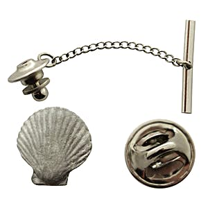 Scallop Tie Tack ~ Antiqued Pewter ~ Tie Tack or Pin ~ Antiqued Pewter Tie Tack or Pin ~ Sarah's Treats & Treasures