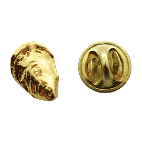 Oyster Mini Pin ~ 24K Gold ~ Miniature Lapel Pin ~ 24K Gold Miniature Lapel Pin ~ Sarah's Treats & Treasures